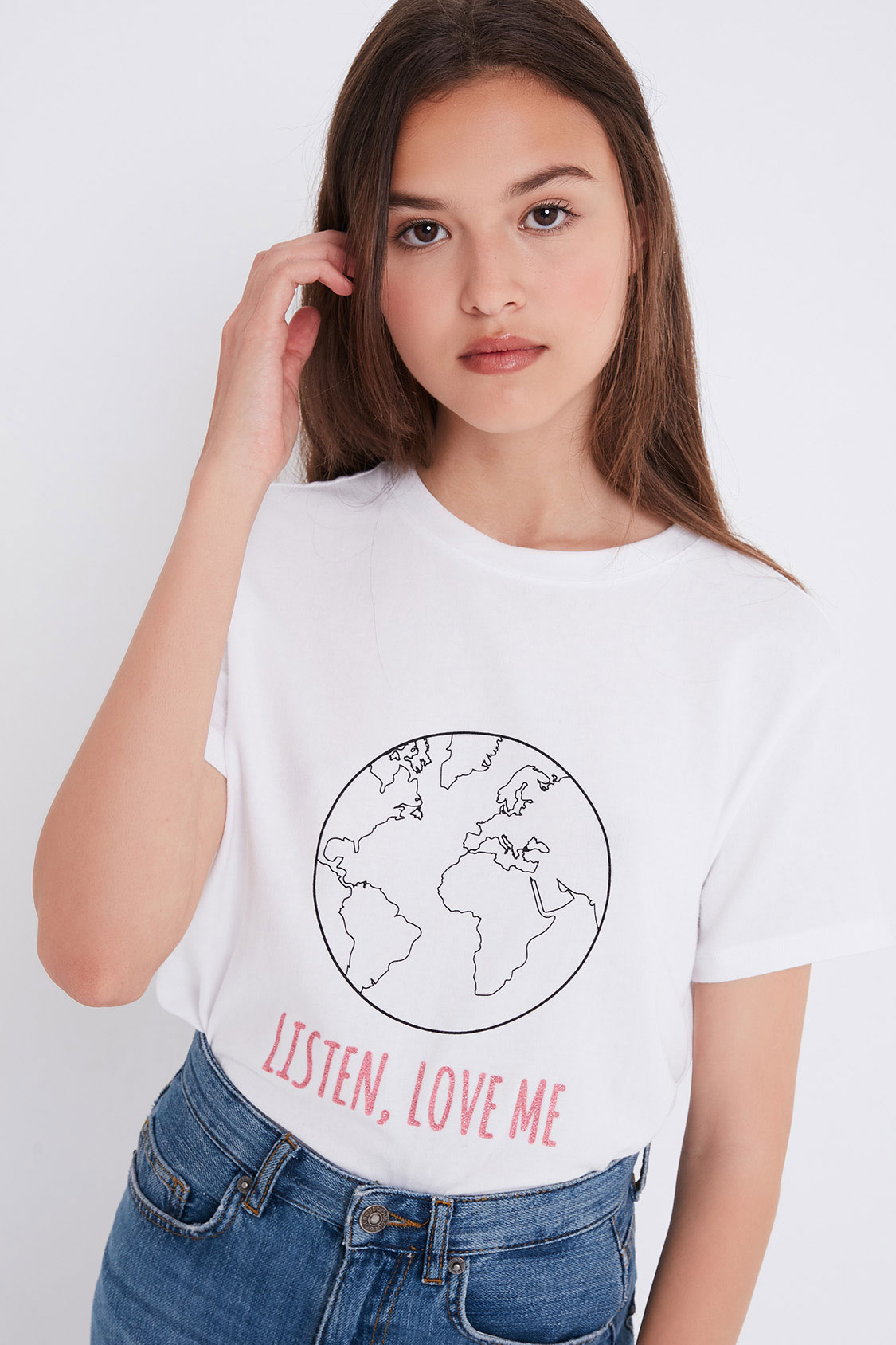 Listen, love me printed t-shirt