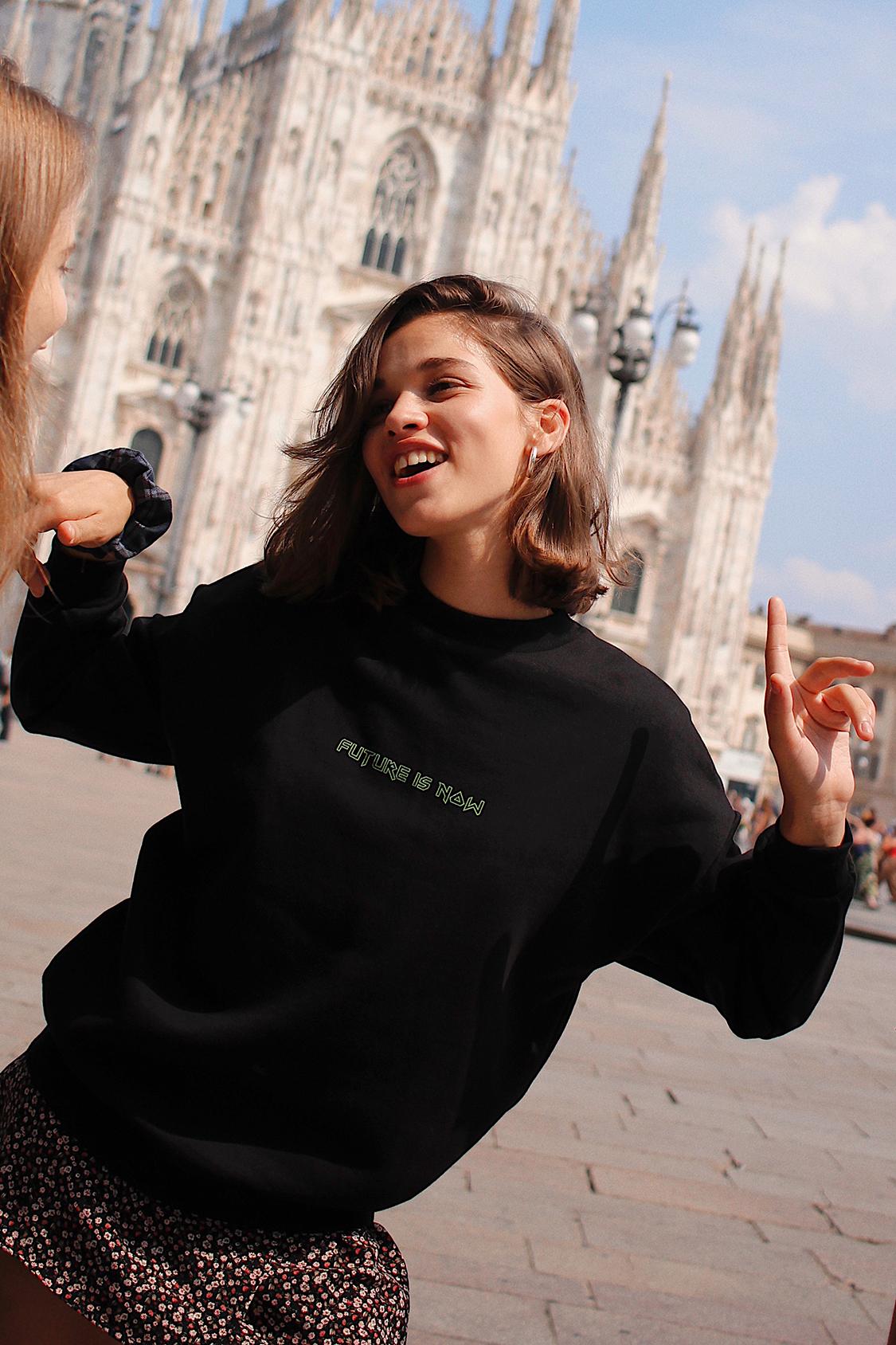 Future is now printed sweatshirt
