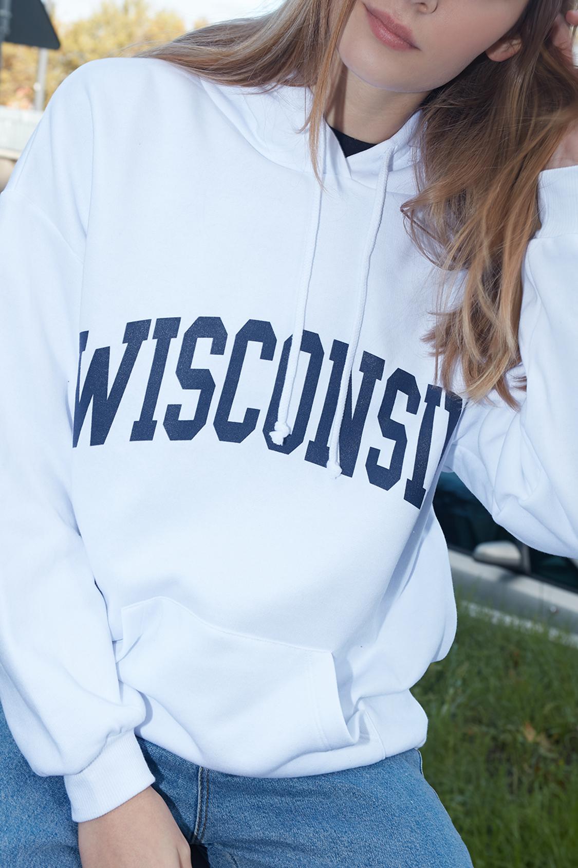Felpa cappuccio Wisconsin