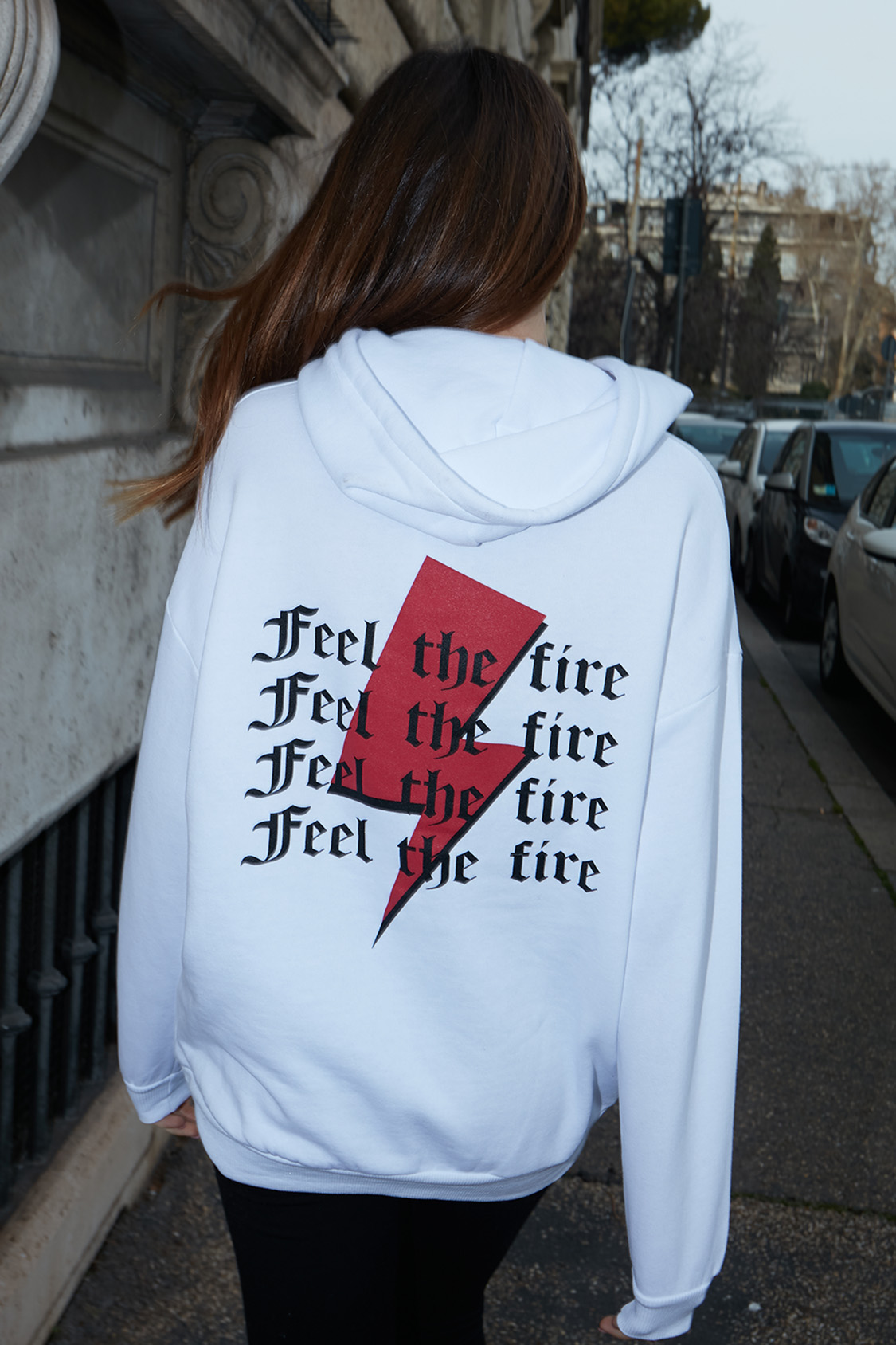 Feel the fire printed hoodie