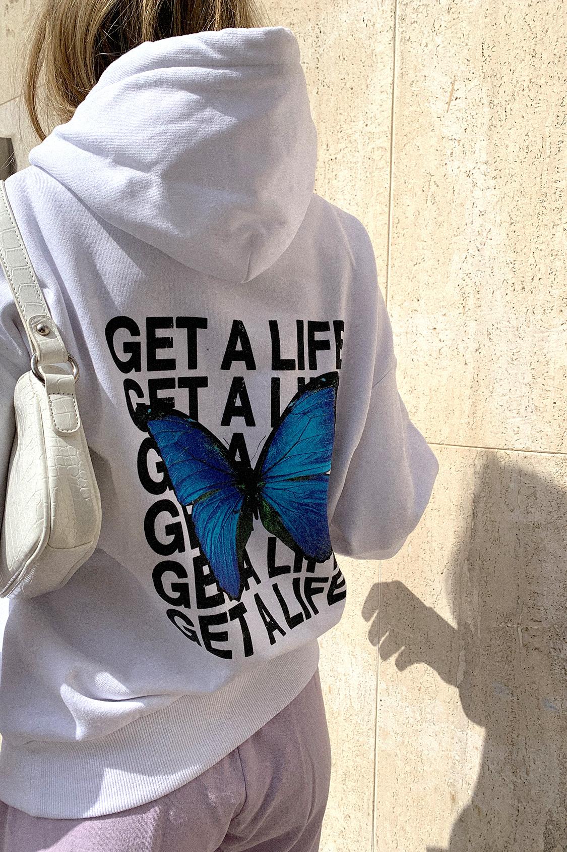 Get a life printed hoodie