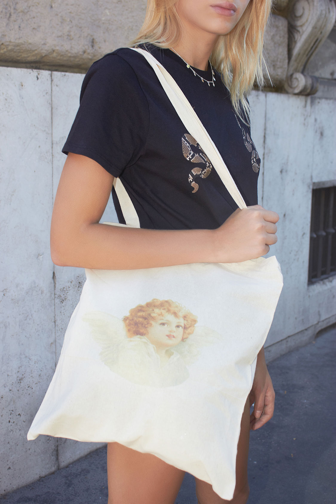 Angel printed shopping bag