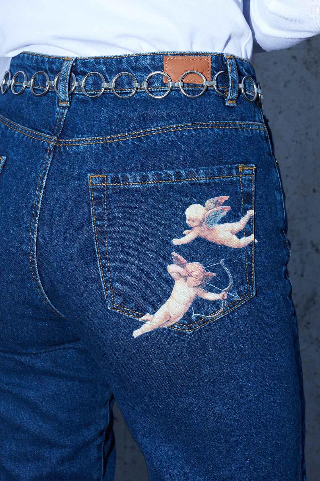 Angels printed boyfriend jeans