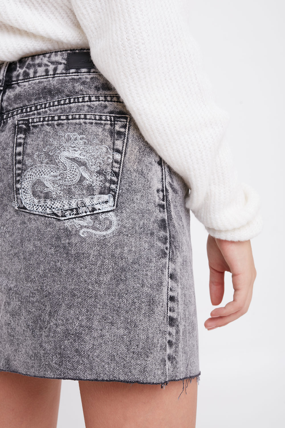 Dragon denim skirt
