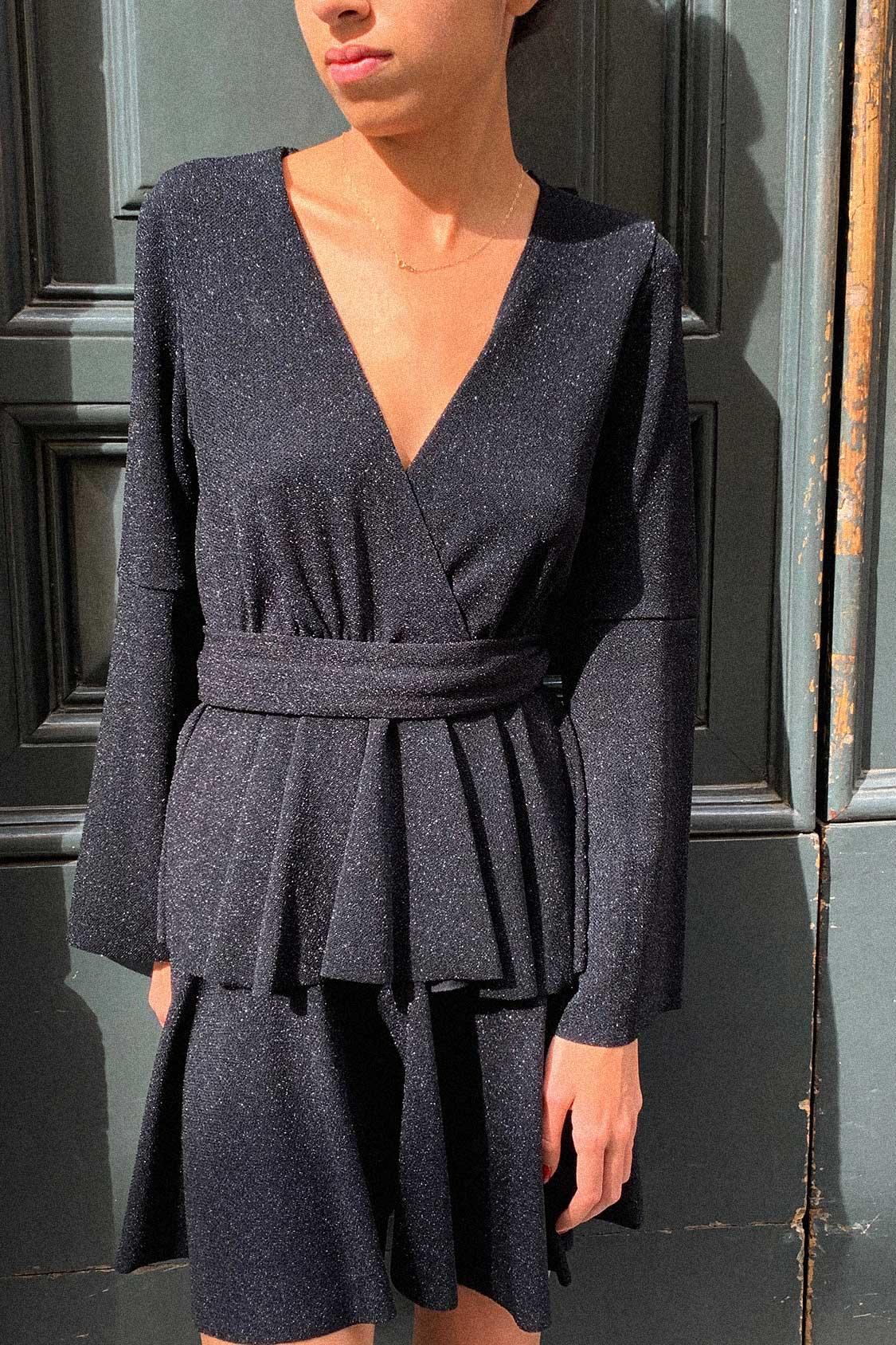 Kleid V-Ausschnitt Lurex