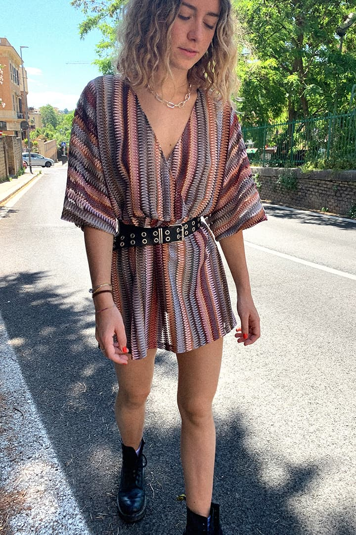 V-neck patterned dress