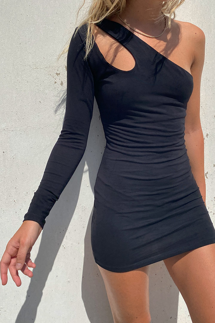 Cut-out one shoulder dress