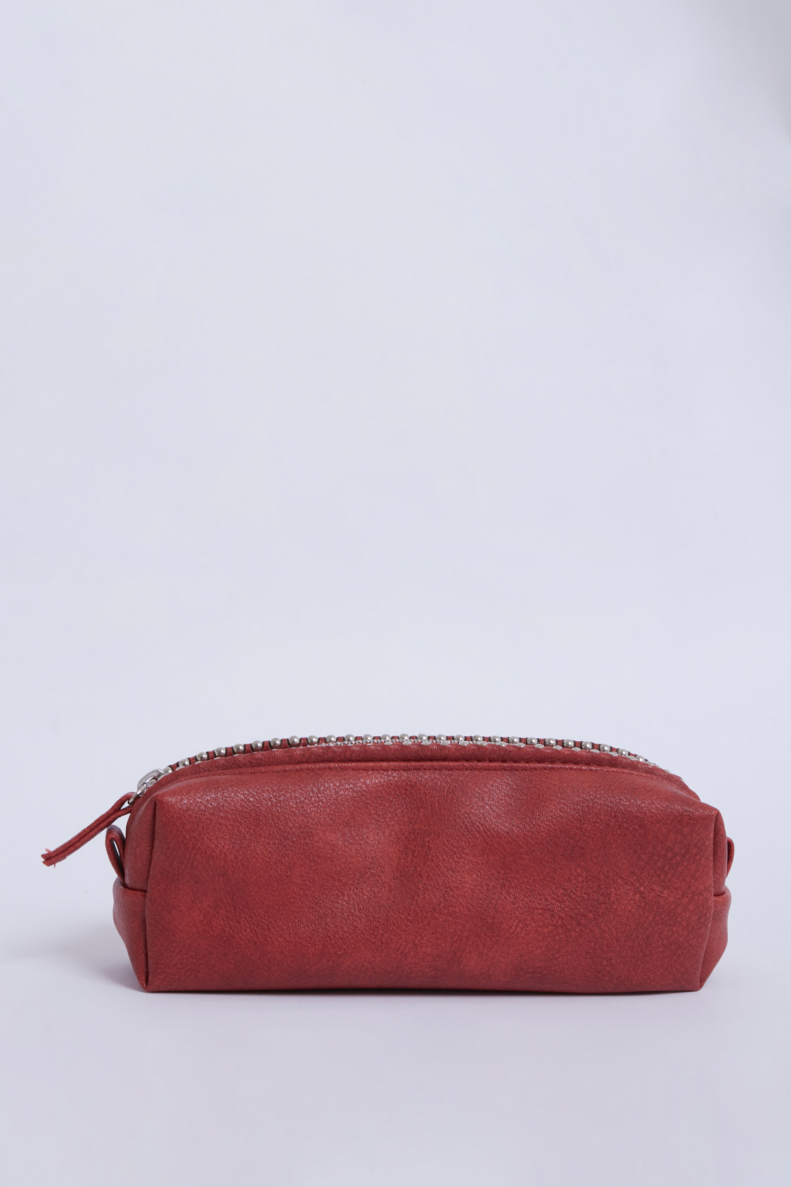 Studded faux leather pencil case