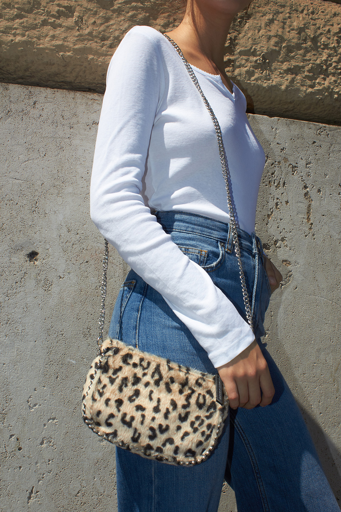 Fluffy cross-body bag