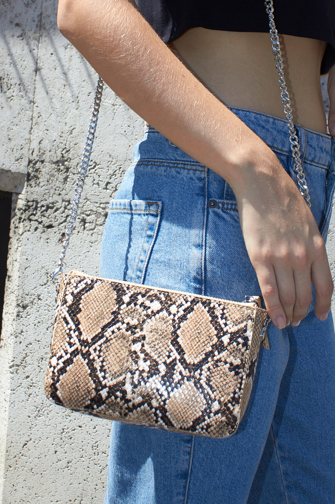 Snakeskin effect cross-body bag