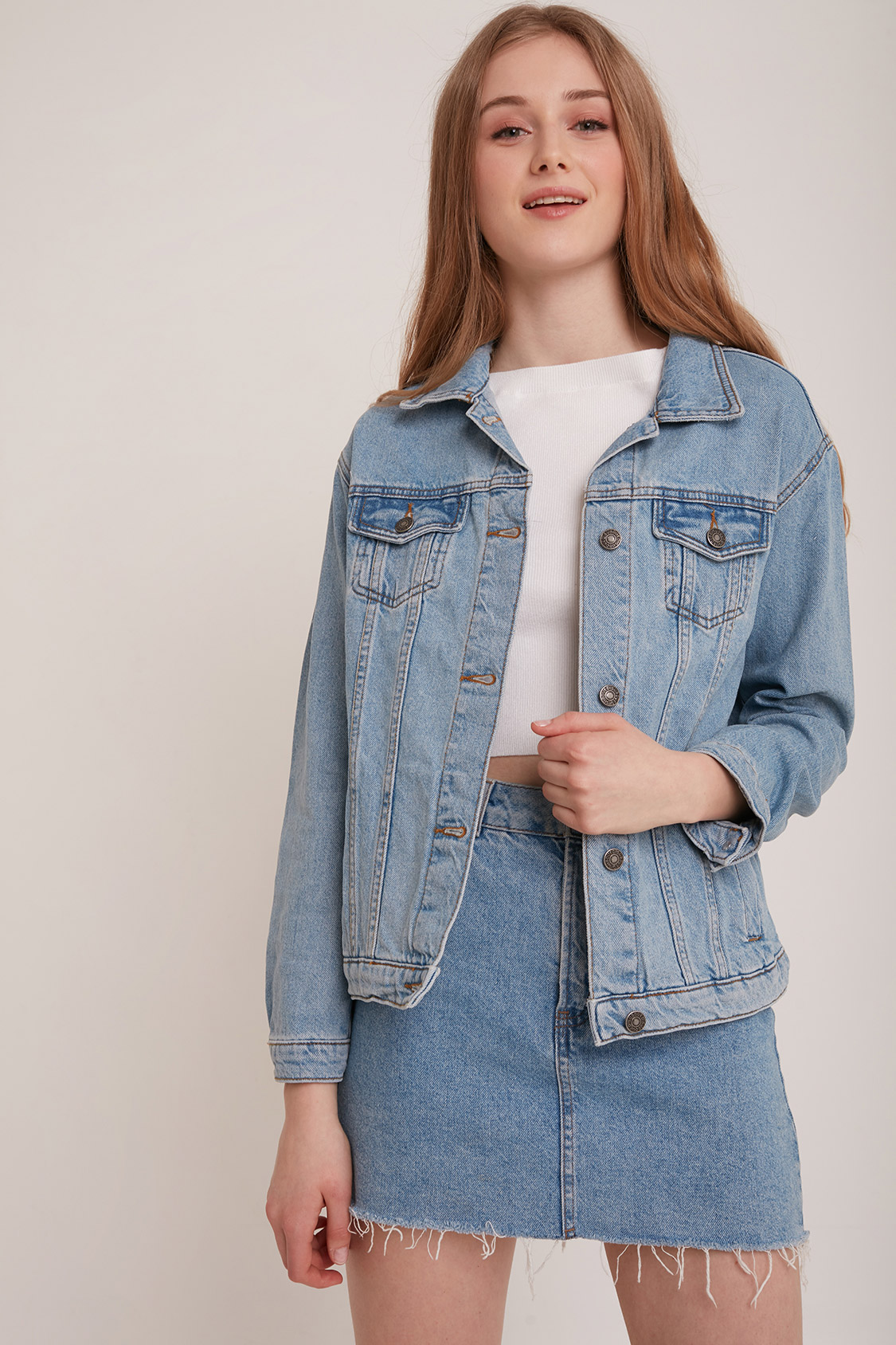 e4e4afd5e5b0 Oversized denim jacket. Skip to the beginning of the images gallery