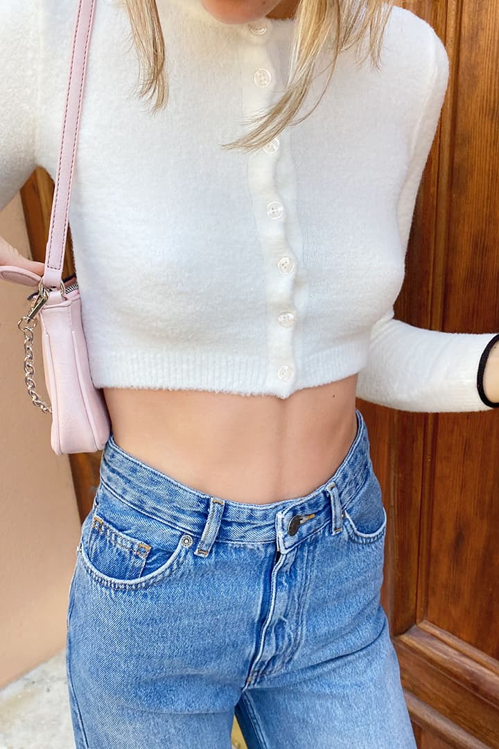 Crop buttons cardigan