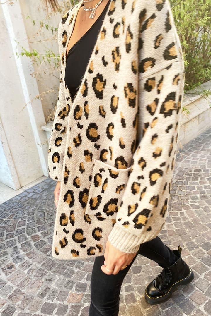 Oversized leopard cardigan