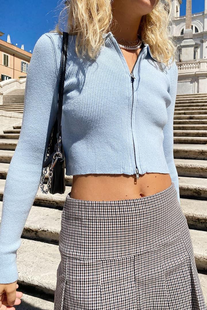 Zip cardigan with collar
