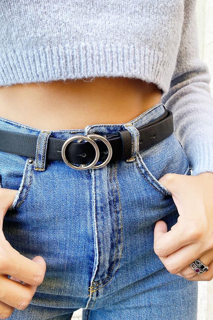Cintura doppia fibbia ad anello