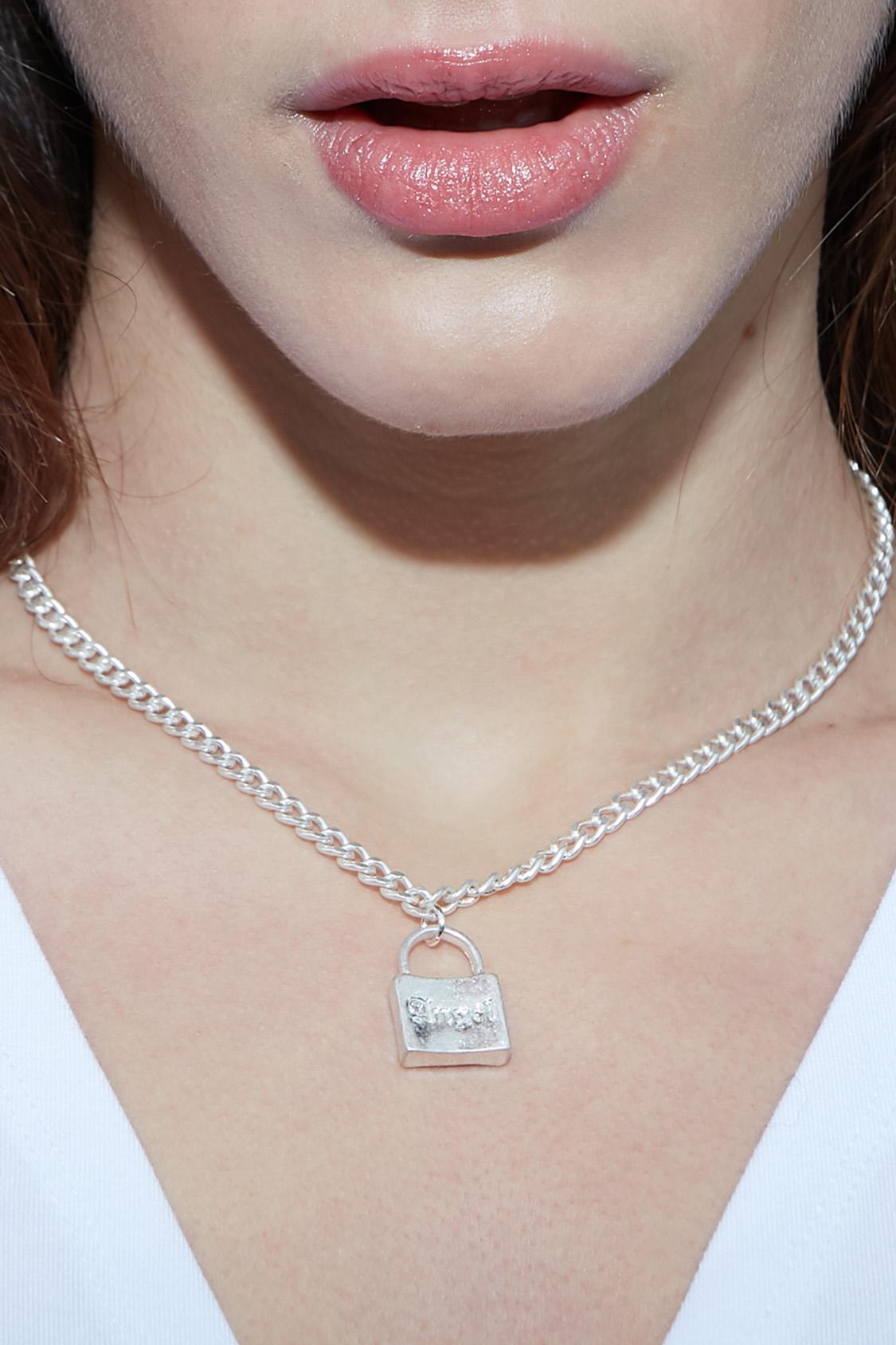 Angel padlock necklace