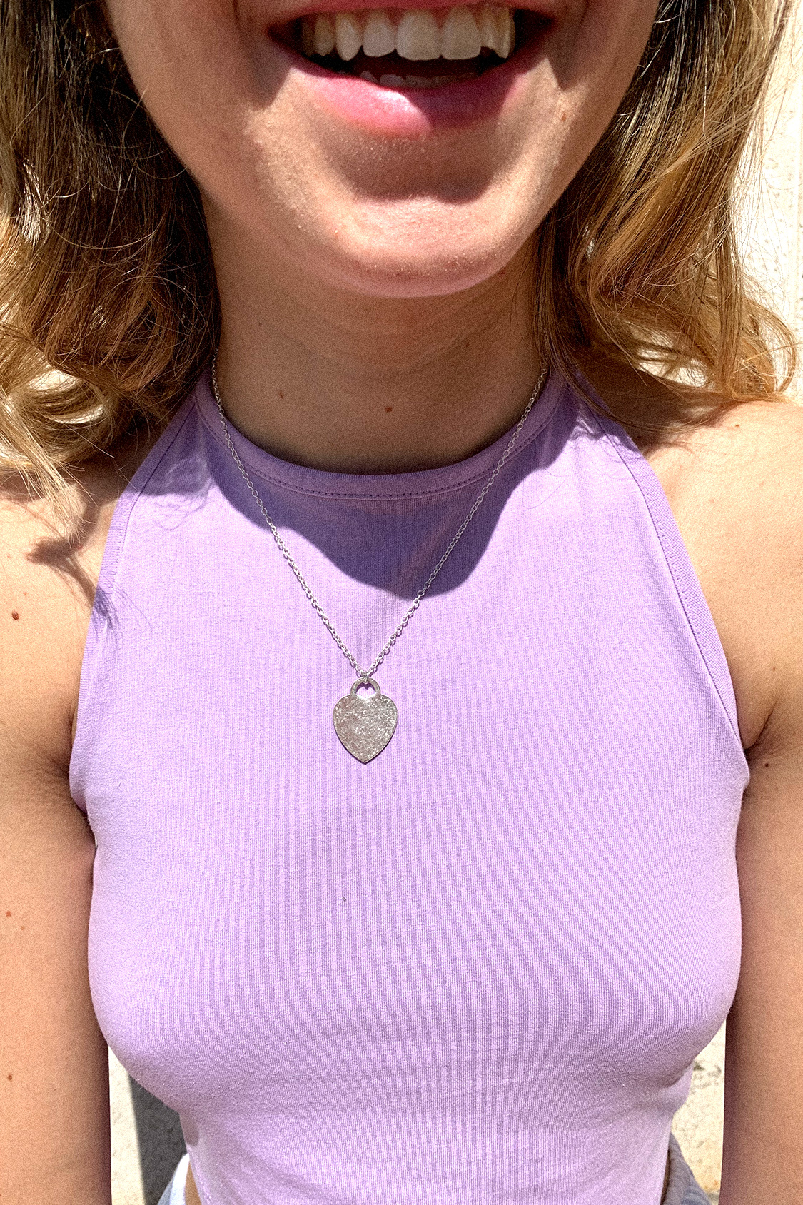 Silvery heart necklace