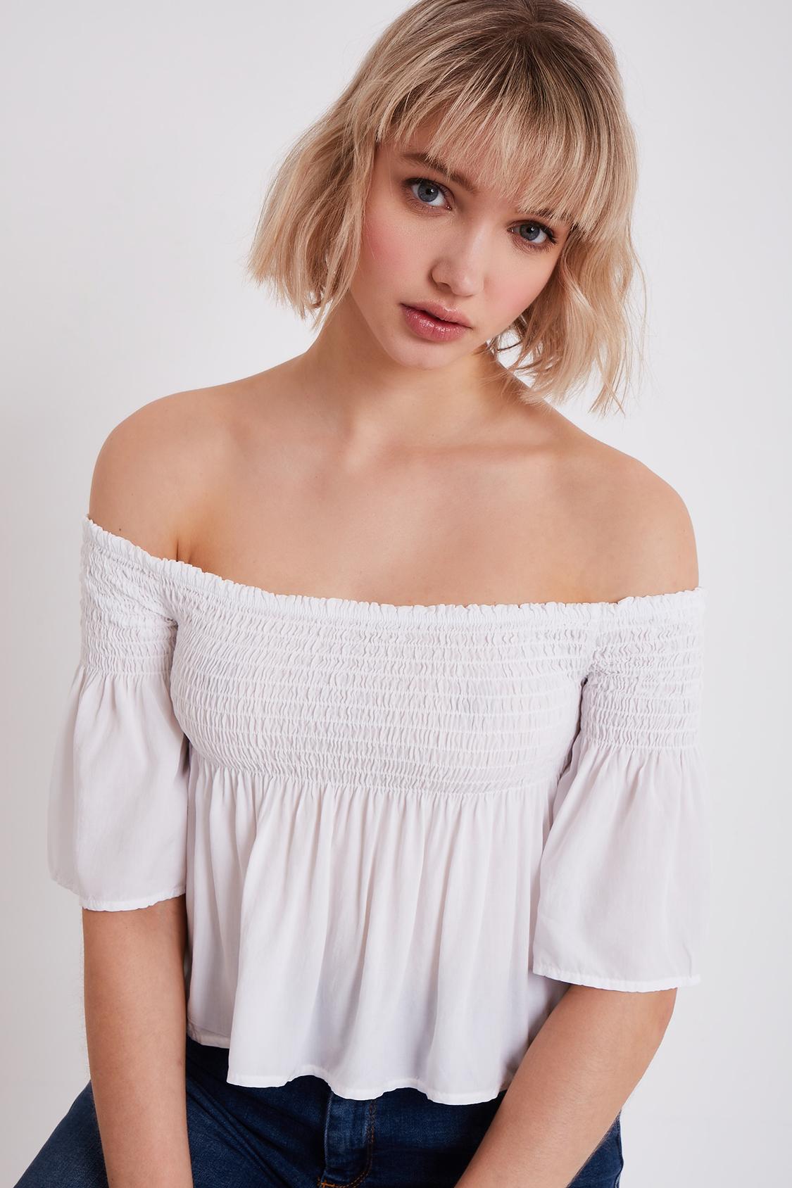 Shirred off the shoulder blouse