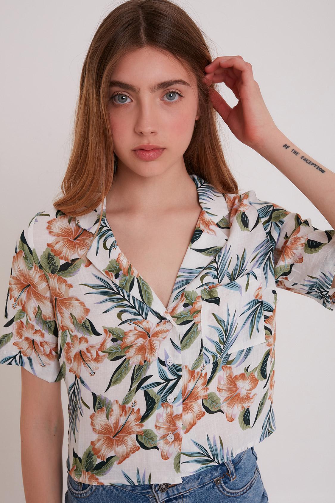 V-neck floral shirt