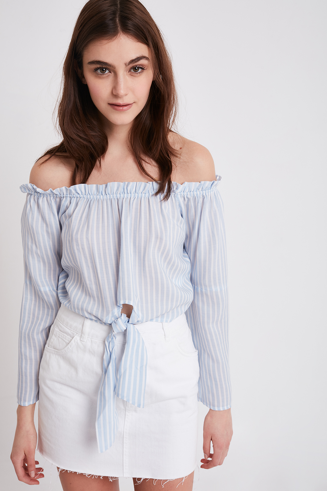 Striped front bow blouse