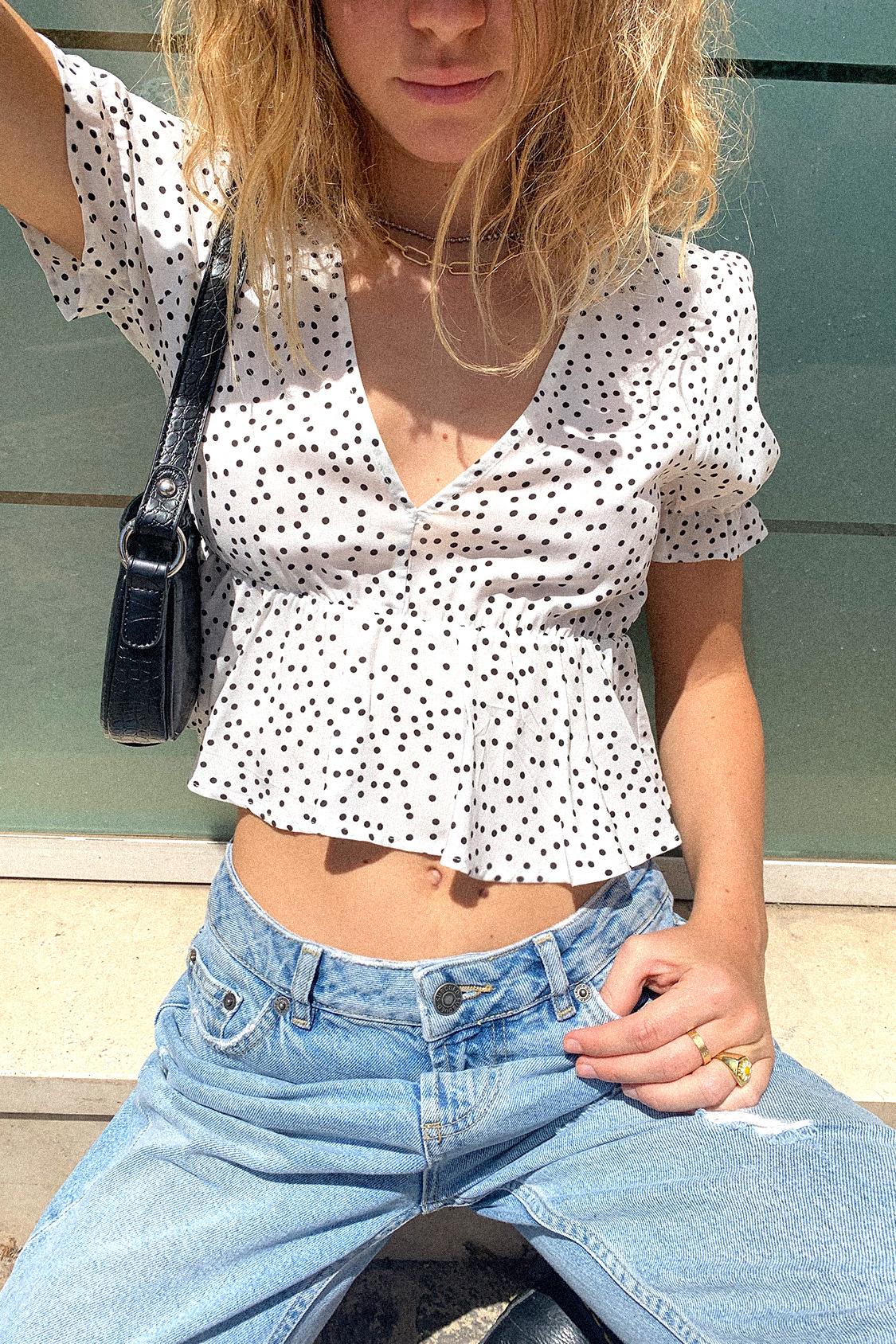 Ruffle V-neck blouse