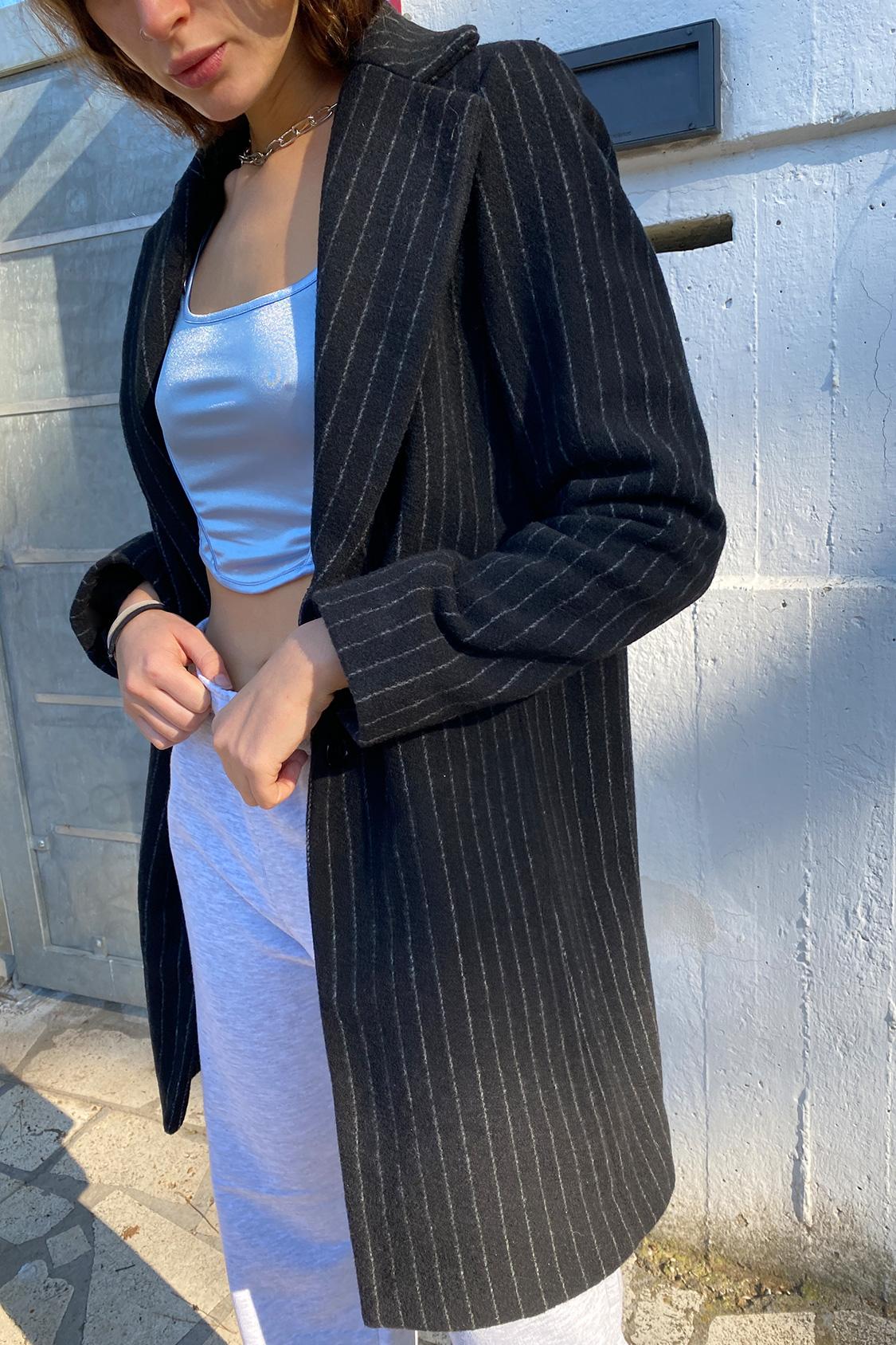 Cappotto lungo gessato