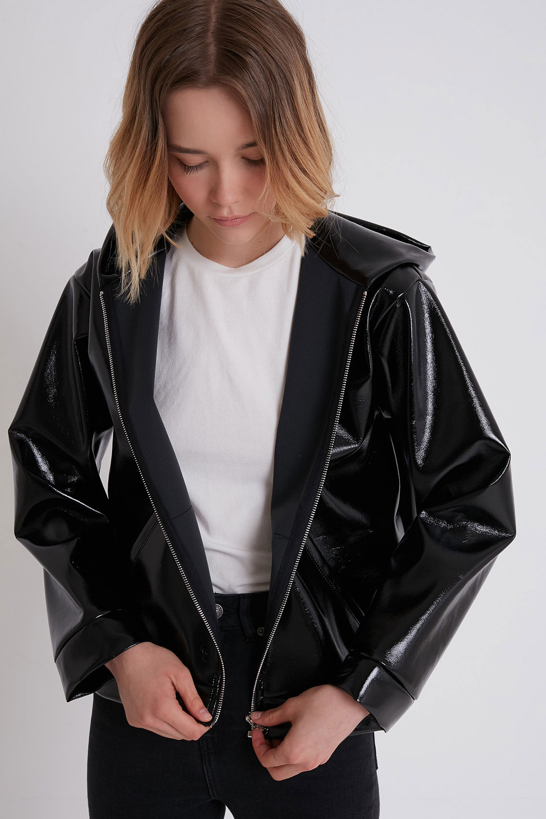 Vinyl hooded jacket