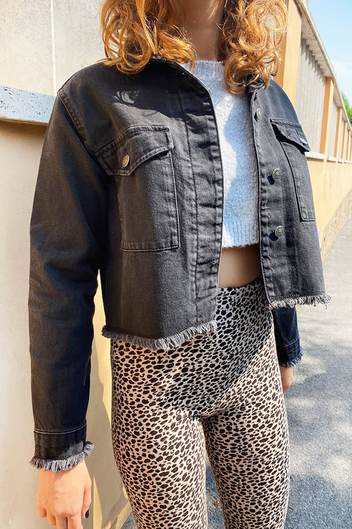 Raw hems cropped jacket
