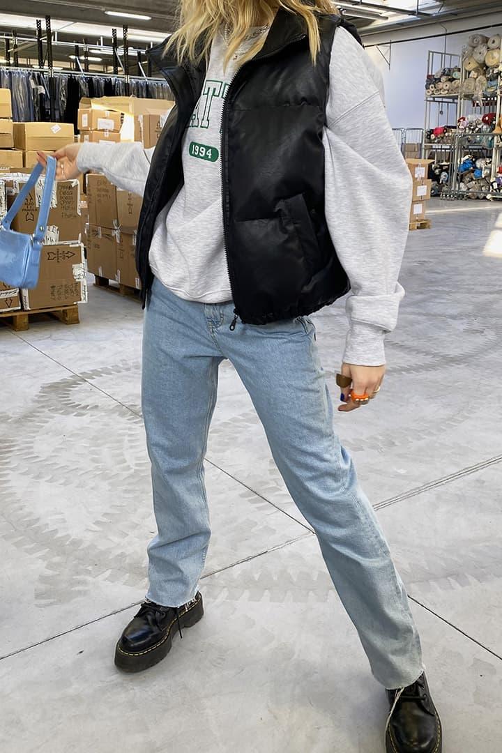 Faux leather bomber vest