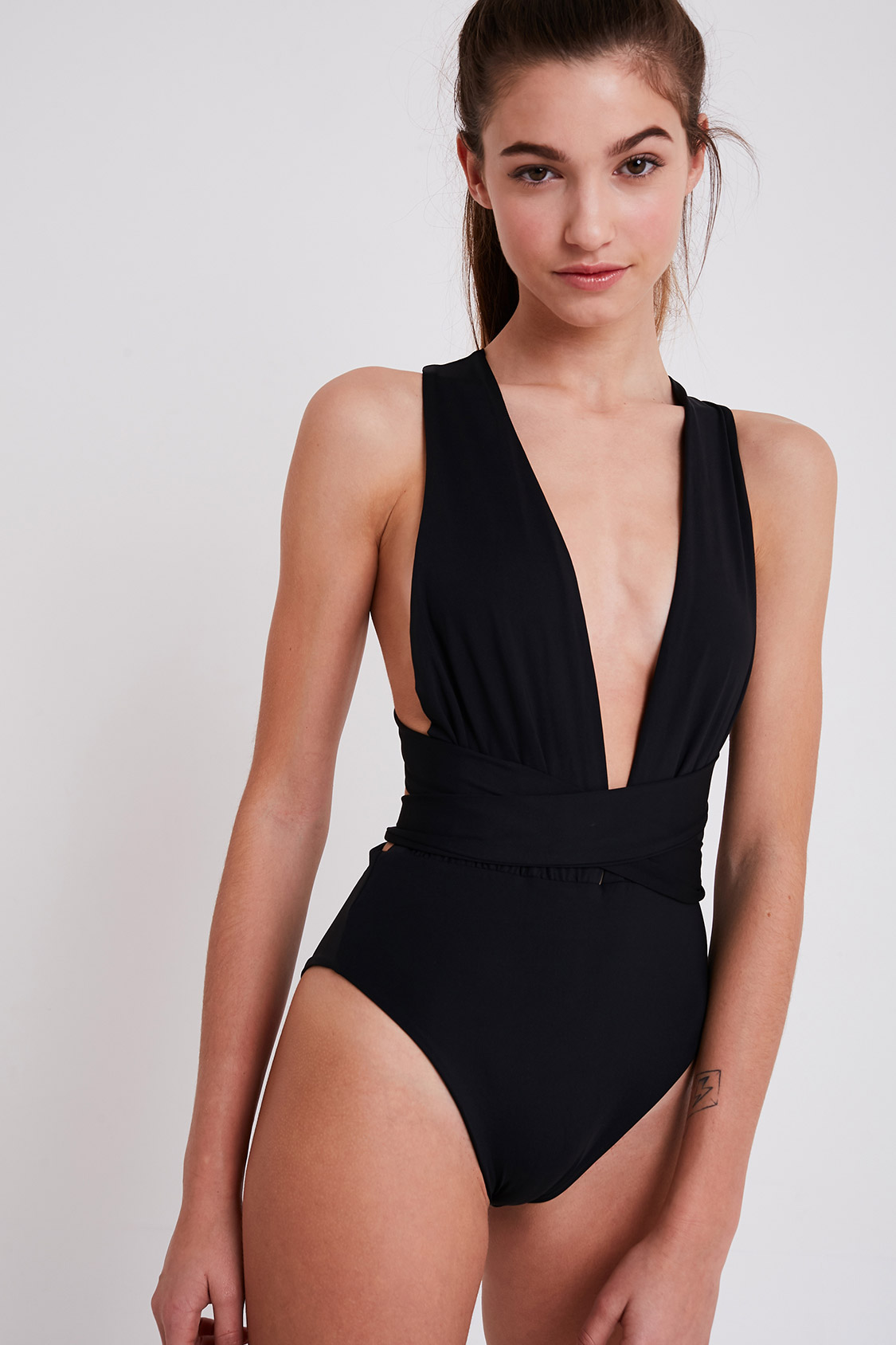 449652286ff1 Plunge V-neck one piece swimsuit