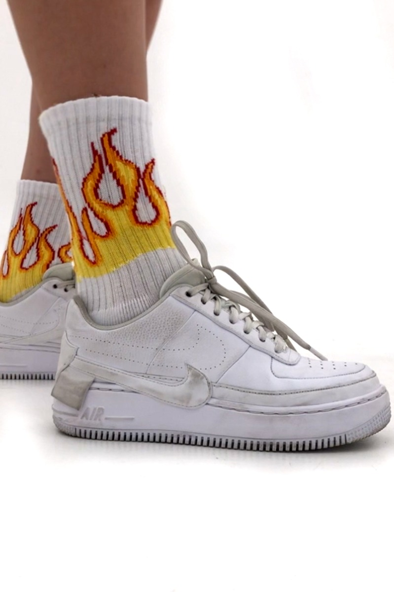 Flames printed socks