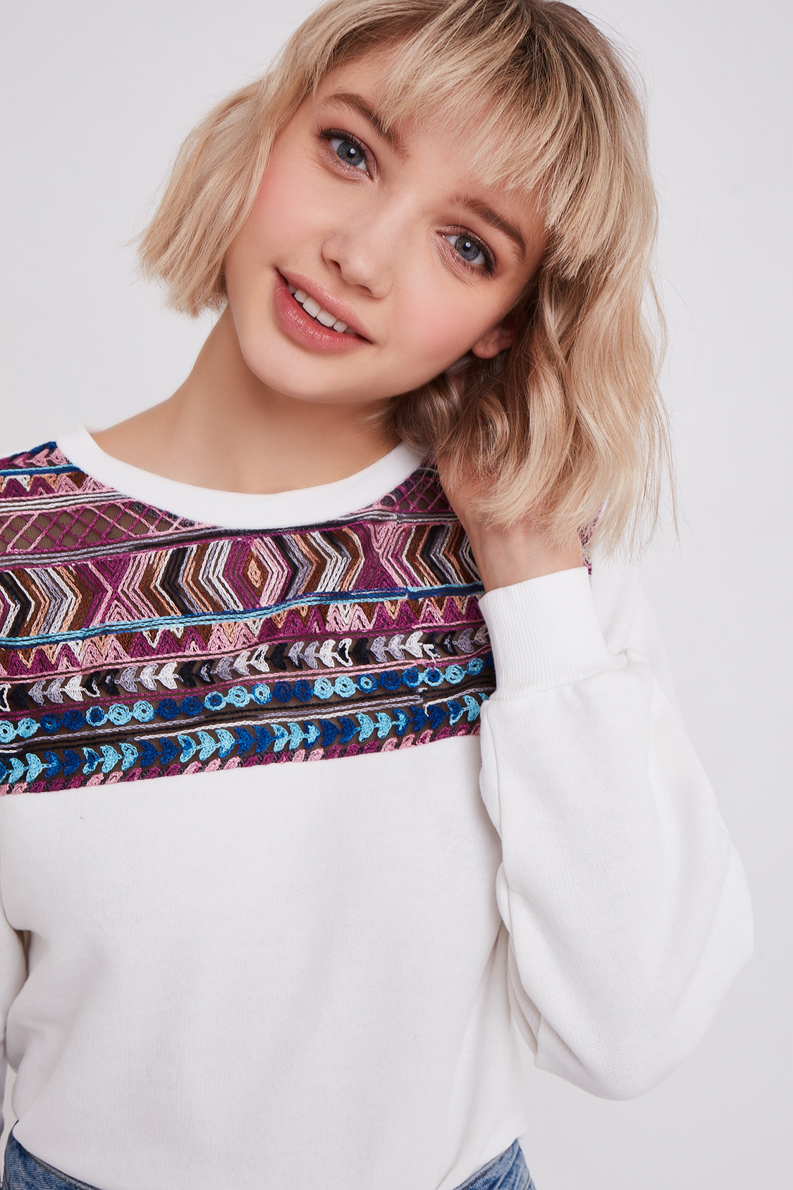 Aztec embroidered sweatshirt