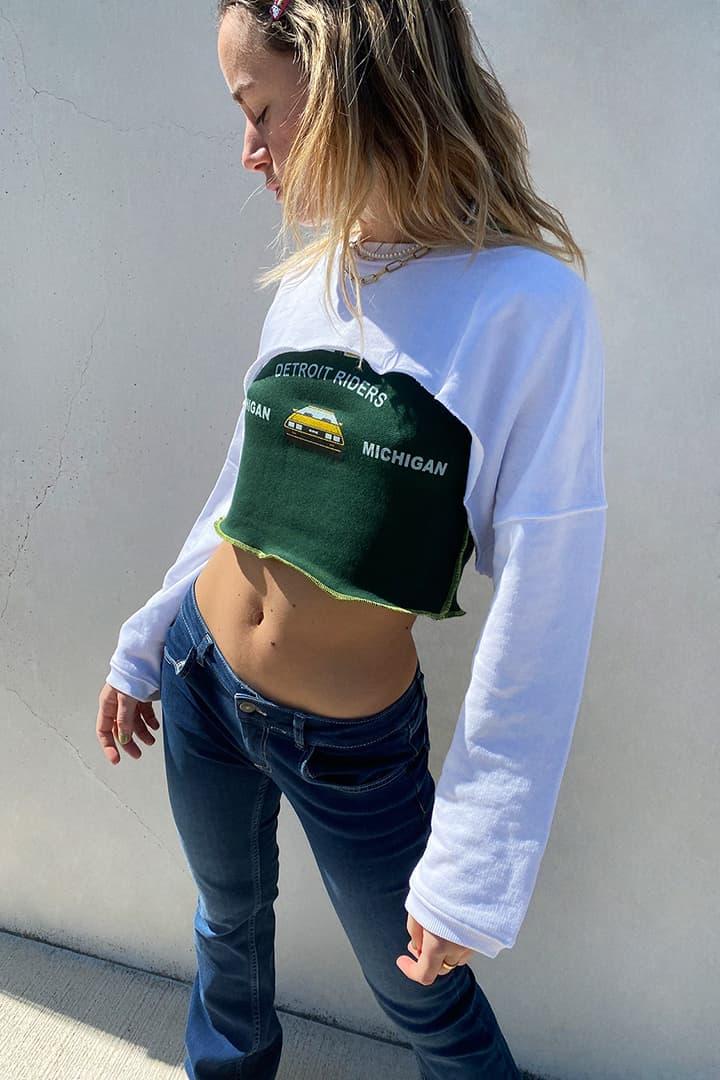 Sudadera crop bandeau hombros