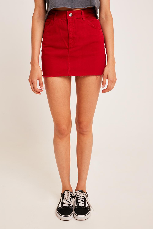 Raw hem skirt