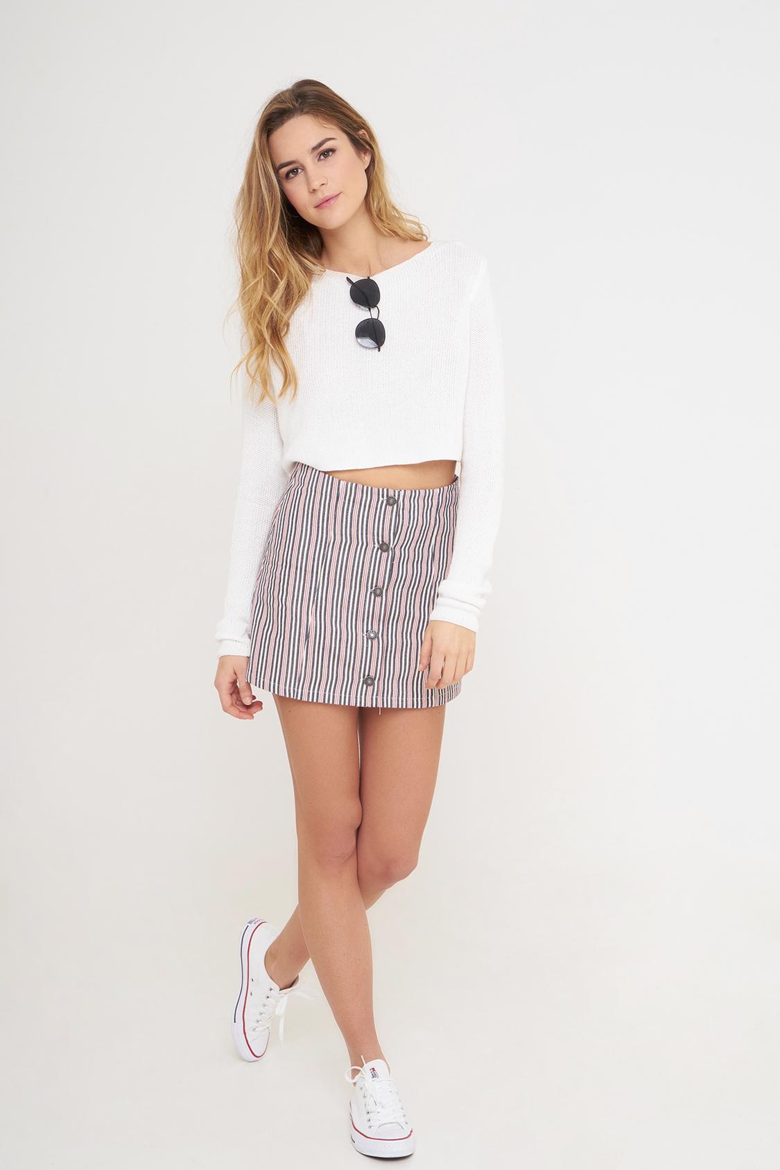 Falda botones de rayas