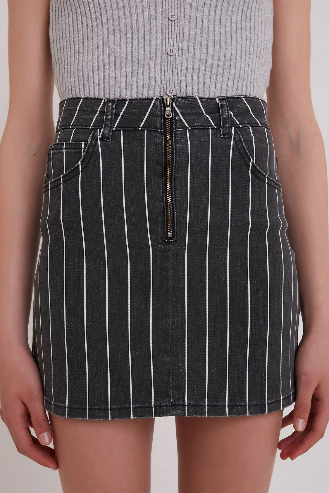 Pinstripe zip skirt