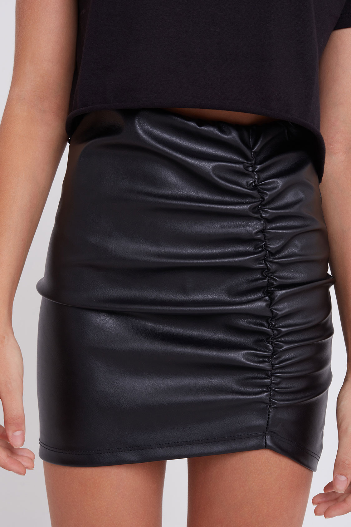 Shirred faux leather skirt