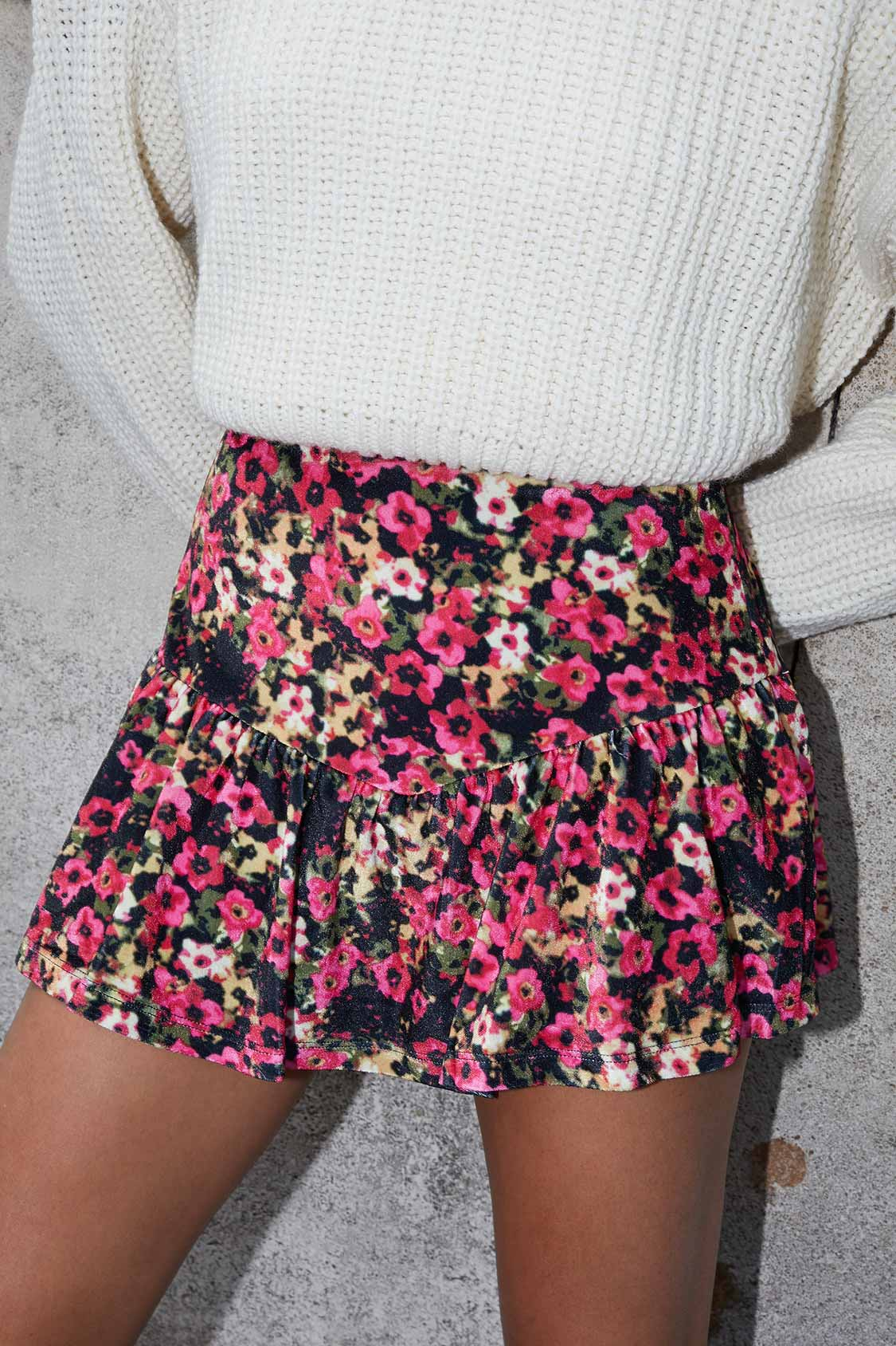 Velvet culottes shorts