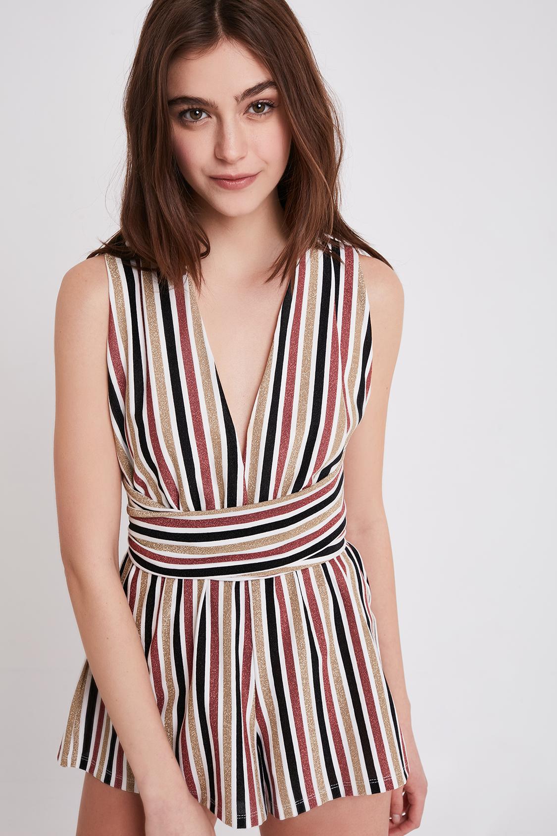 Striped V-neck playsuit