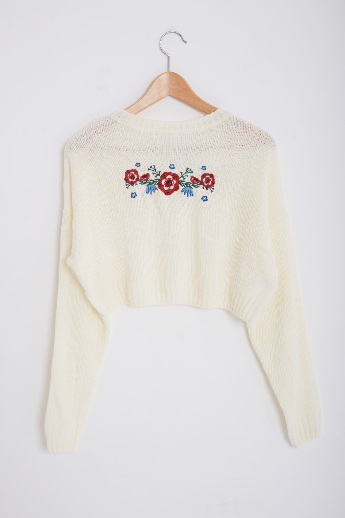Floral chenille sweater