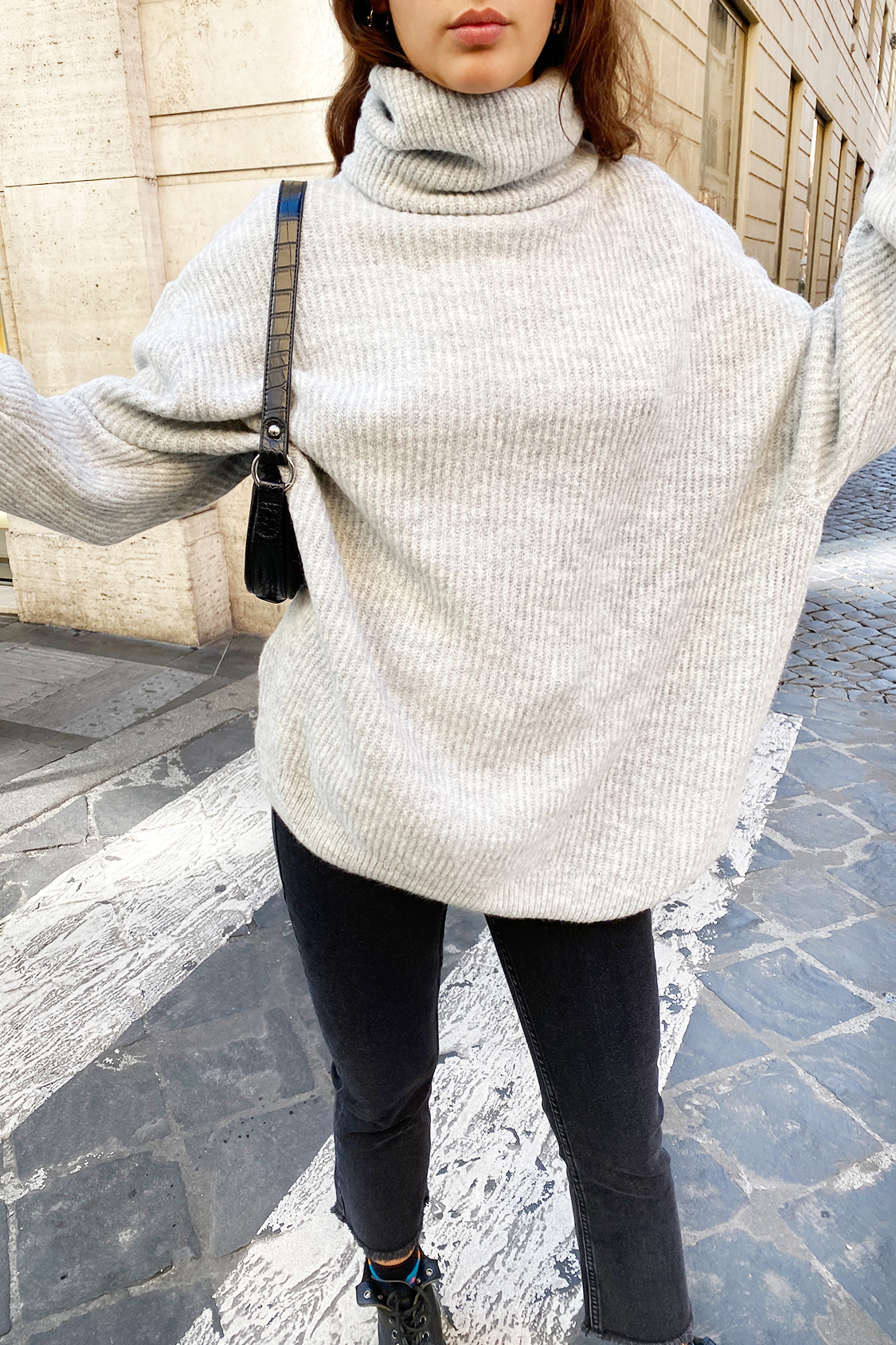 Maglione collo alto oversize
