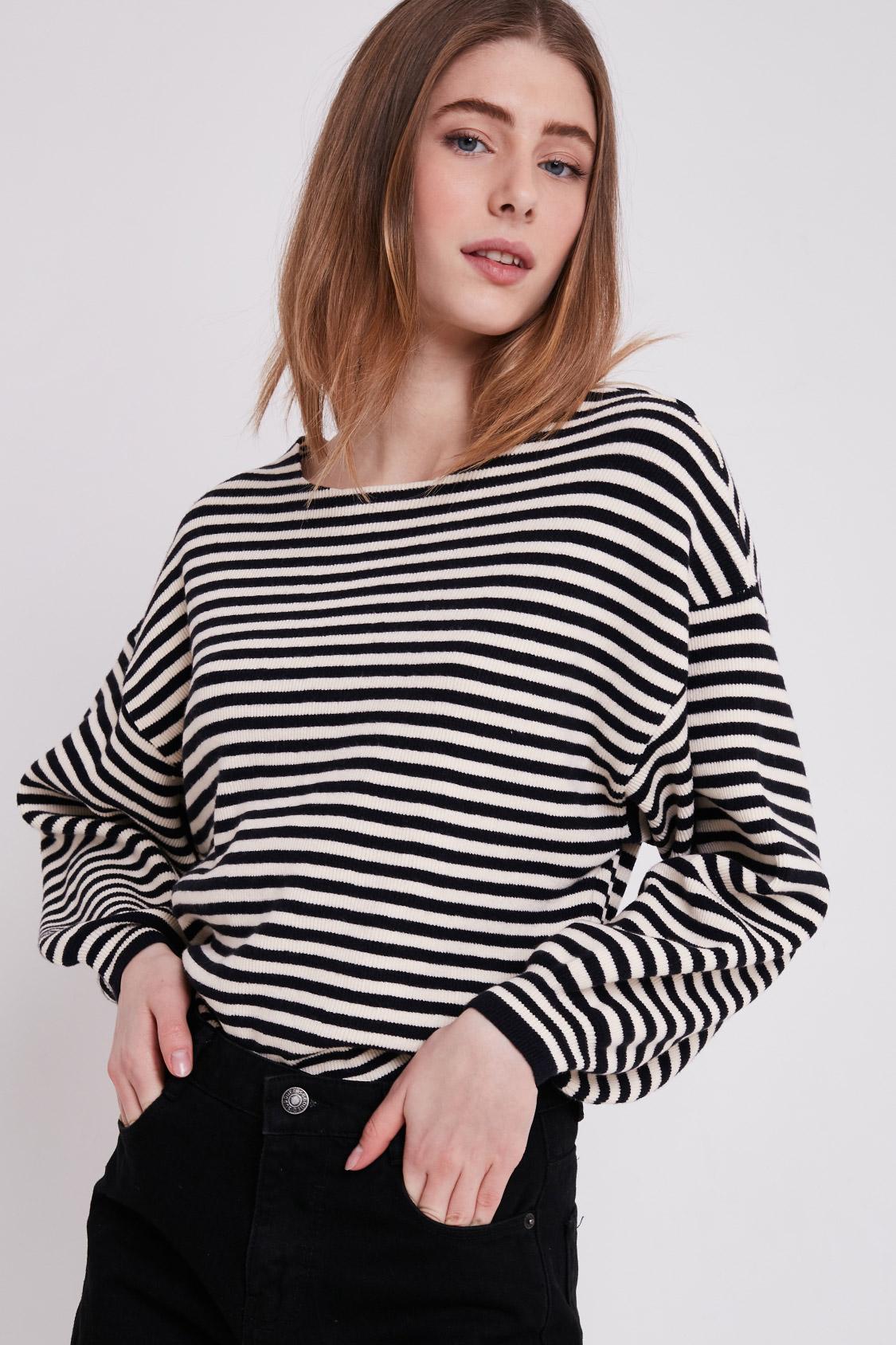 f74b882c305cfc Striped balloon sleeve sweater
