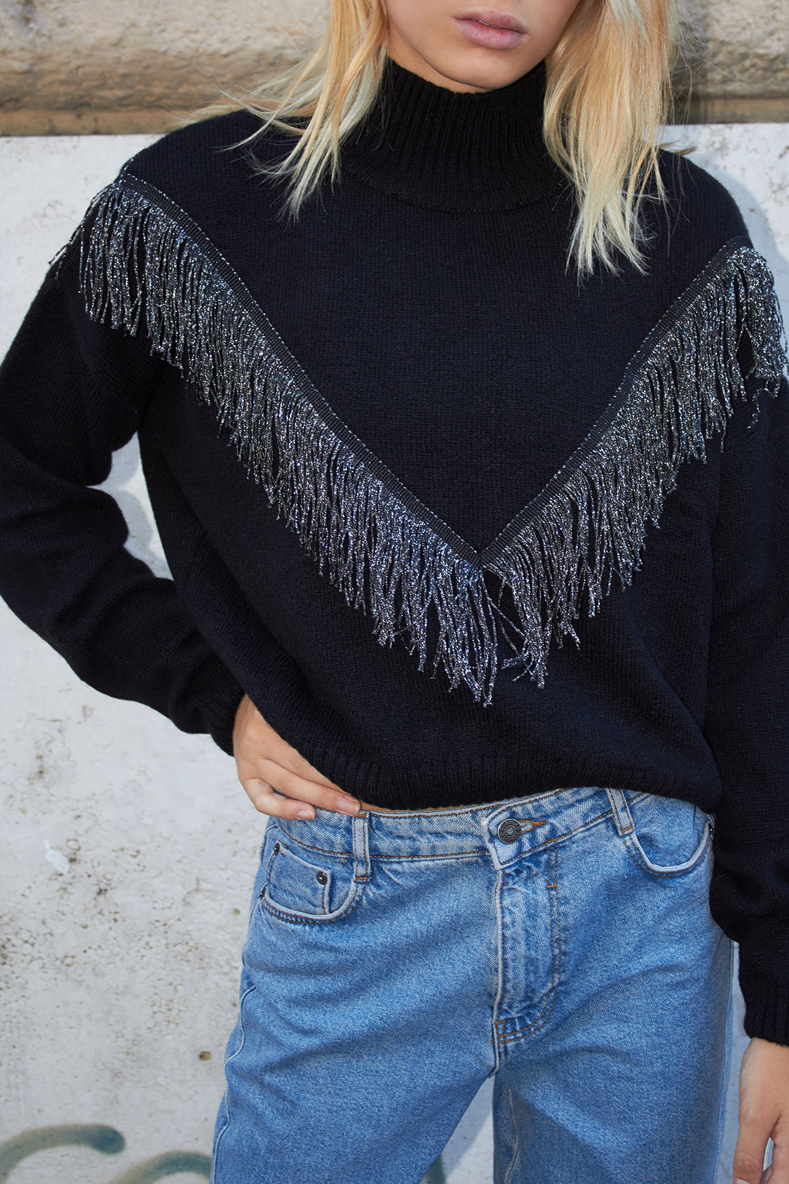 Fringed turtleneck sweater