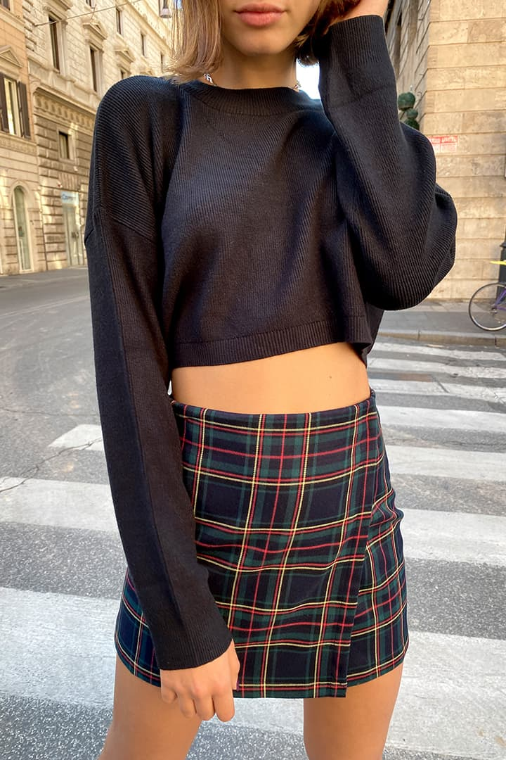 Ribbed mock neck crop sweater