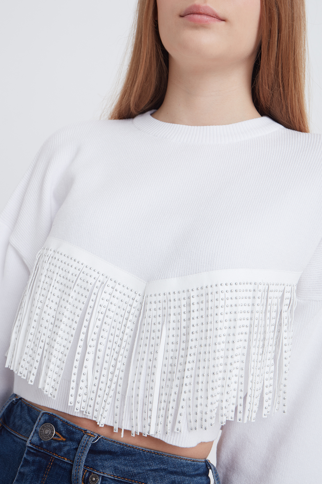 Fringed and studded jumper