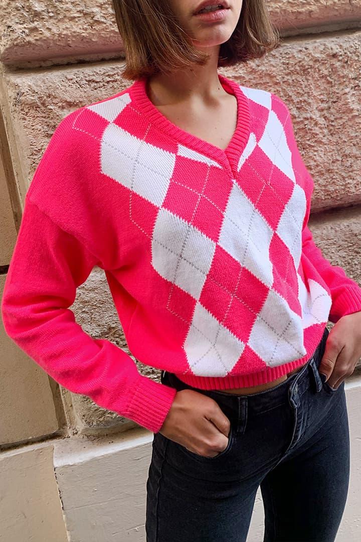 Pullover Karomuster mit V-Ausschnitt