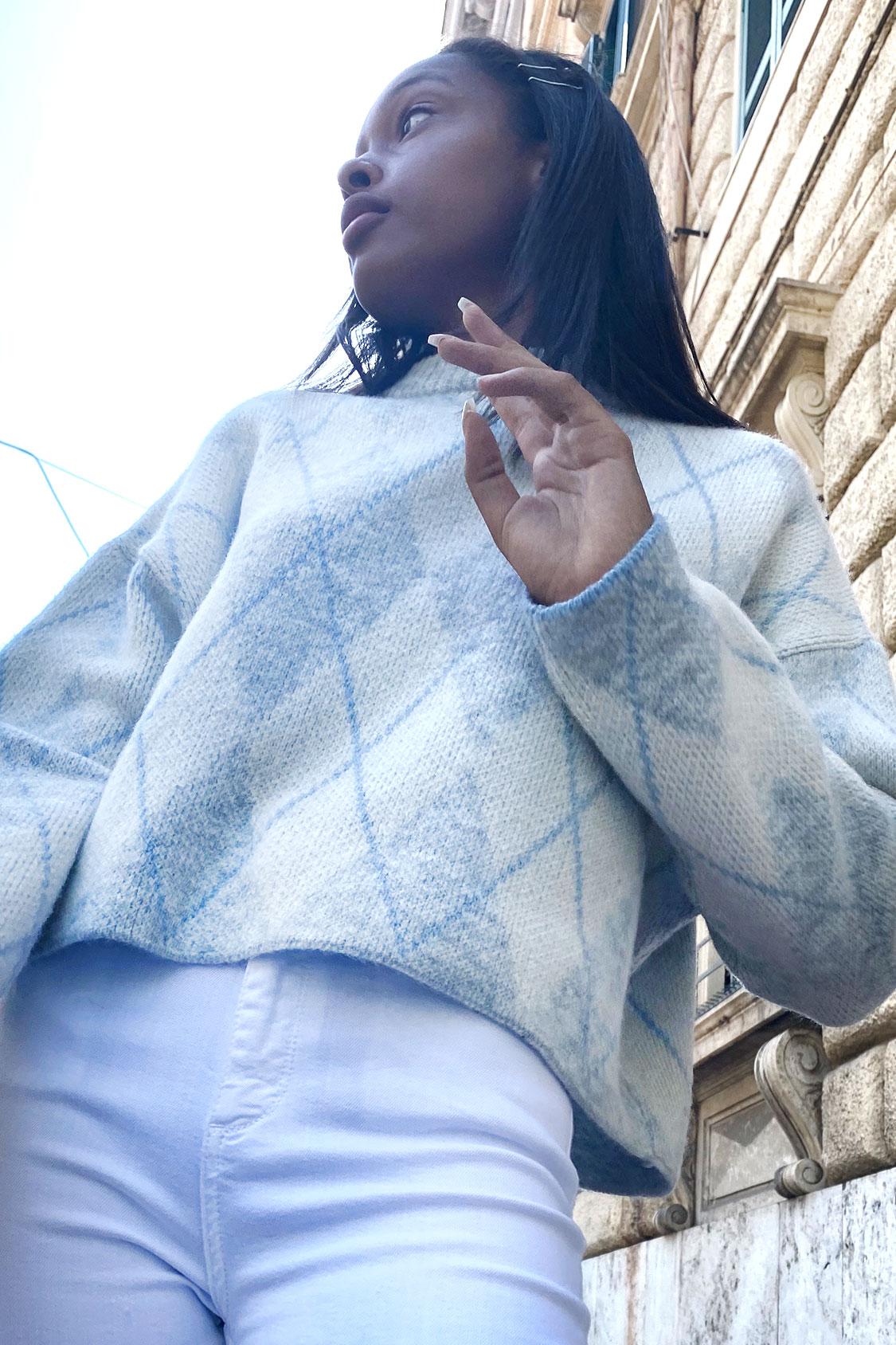 Oversized argyle sweater