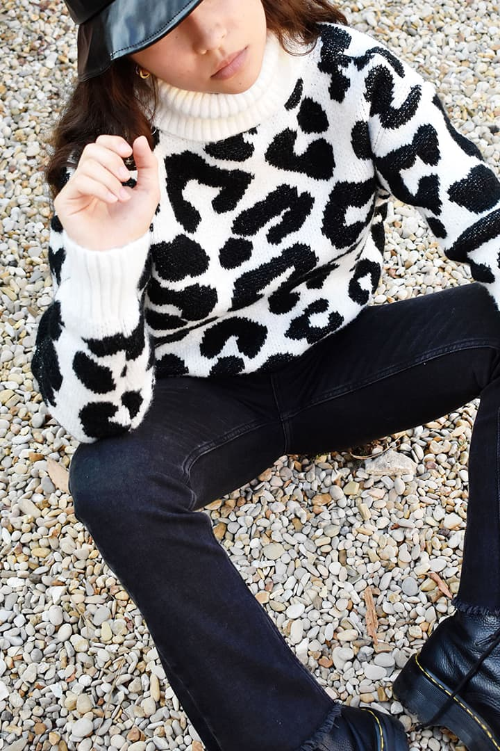 Pull col montant animalier