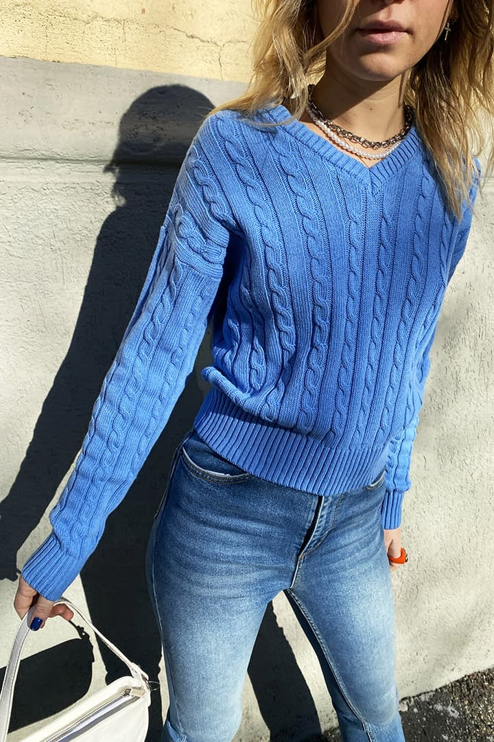 Geflochtener Pullover V-Ausschnitt