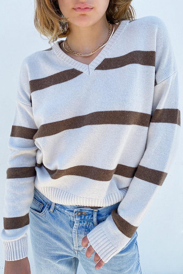 V-neck striped sweater